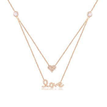 Gold double layered love necklace