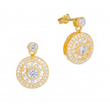 Gold antique circle drop earrings