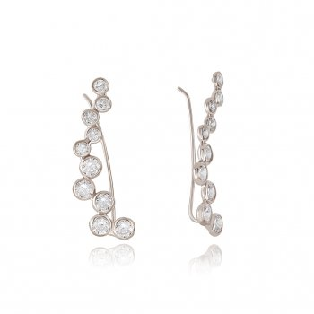 Ingenious Silver ear bar with pave wave