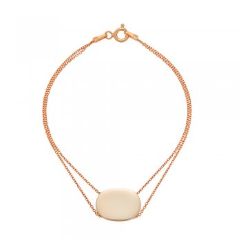 Ingenious Rose gold double chain bracelet with oval disc