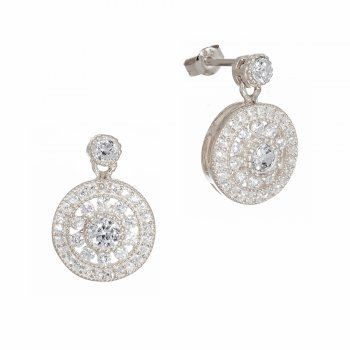 Silver antique circle drop earrings