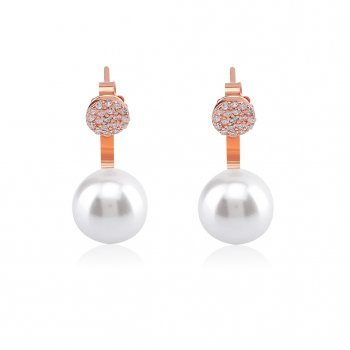 Ingenious rose gold pearl swing earring with pave disc