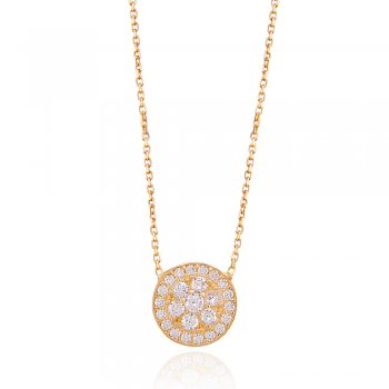 Gold necklace with raised crystal flower centre