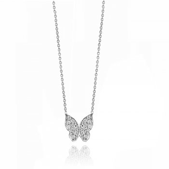 Ingenious Silver pave butterfly necklace