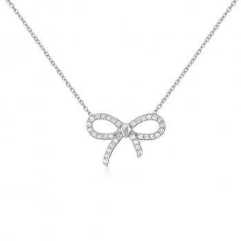 Ingenious Silver pave bow necklace