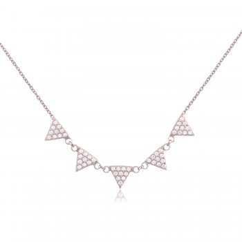 Ingenious Silver necklace with pave triangles