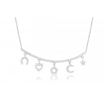 Ingenious Silver multi charm necklace