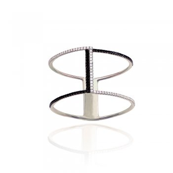 Ingenious Silver pave line ring with one line of black czs
