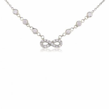 Silver DBY necklace with pave infinity pendant