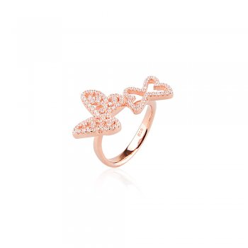 Ingenious Rose gold ring with two butterflies