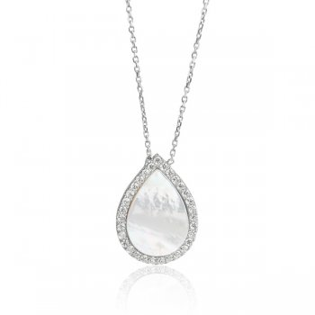 Ingenious Silver pear shape mother of pearl pendant