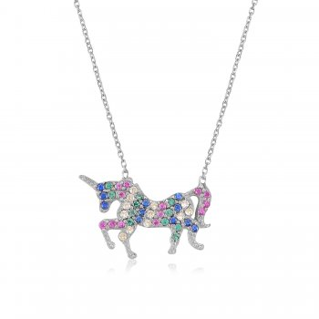 Silver necklace with multi colour unicorn