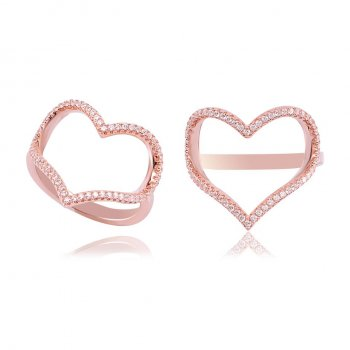 Ingenious Rose gold open pave heart ring