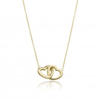 Ingenious Gold necklace with linked hearts