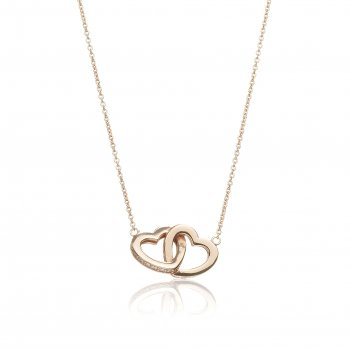 Rose gold necklace with linked hearts