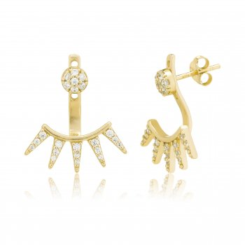 Ingenious Gold ear jacket with pave triangles