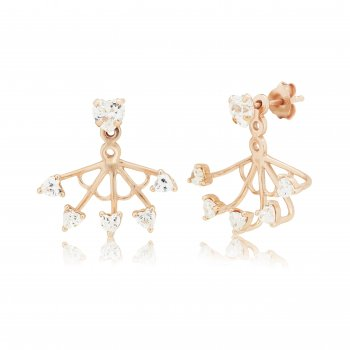Ingenious Rose gold ear jacket with multi stones
