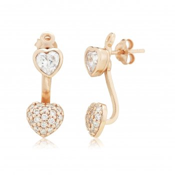 Ingenious Rose gold ear jacket with hearts