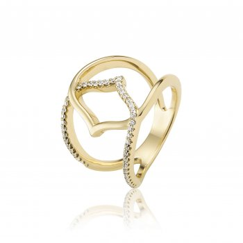 Ingenious Gold ring with centre open hand