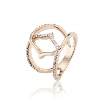 Ingenious Rose gold ring with centre open hand