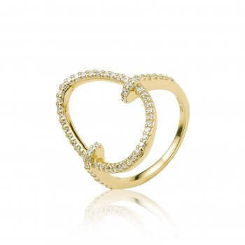 Ingenious Gold ring with pave oval