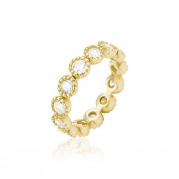 Ingenious Gold ring with round cz stones