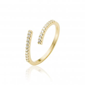 Ingenious Gold ring adjustable with pave line