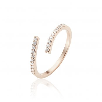 Ingenious Rose gold ring adjustable with pave line