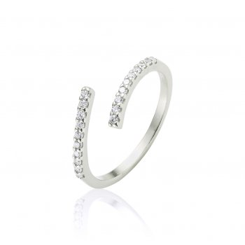 Ingenious Silver Ring adjustable with pave line
