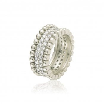 Ingenious Silver ring with pave surround