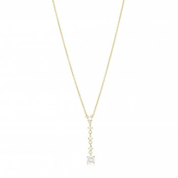 Ingenious Gold lariat necklace with hanging stones
