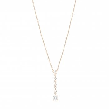 Rose gold lariat necklace with hanging stones