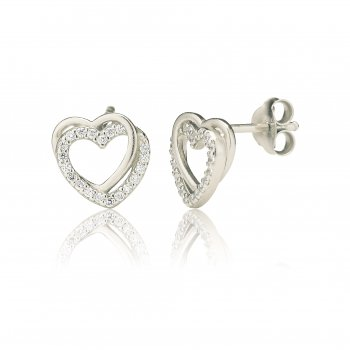 Ingenious Silver stud earrings with pave heart