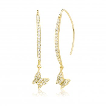Ingenious Gold earrings with  pave line and hanging butterfly