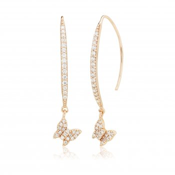 Ingenious Rose gold earrings with pave line and hanging butterfly
