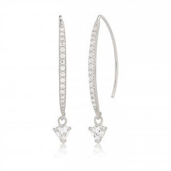 Ingenious Silver earrings with pave line and hanging stone