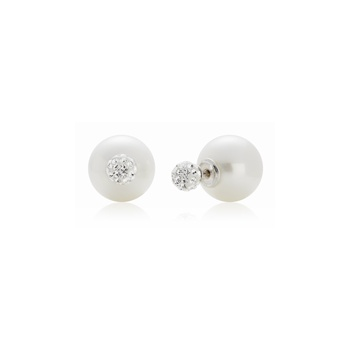 Ingenious Silver back to back earring with crystal stud and pearl