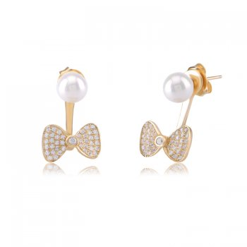 Ingenious Gold ear jacket with pearl and bow