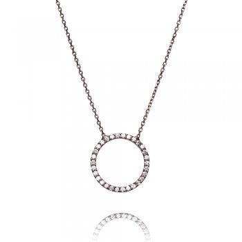 Black necklace with open pave circle