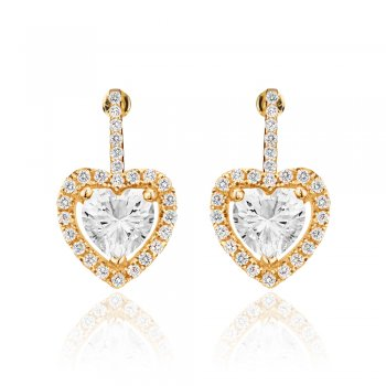 Gold drop earring with heart and pave surround