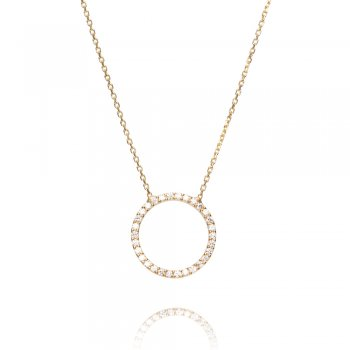 Ingenious Gold necklace with open pave circle