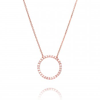 Ingenious Rose gold necklace with open pave circle
