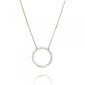 Silver necklace with open pave circle