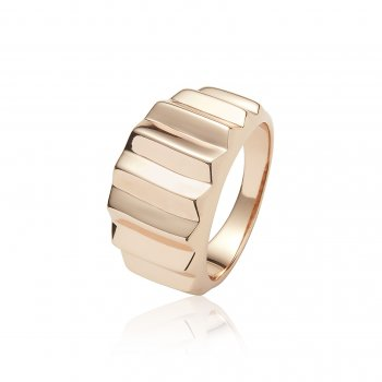 Ingenious Rose gold ring with pyramid lines