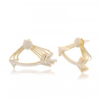 Ingenious Gold ear jacket with pave arrow