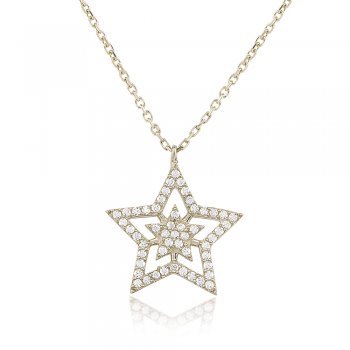 Ingenious Silver necklace with open pave star