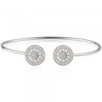 Ingenious Silver adjustable bangle with antique circles