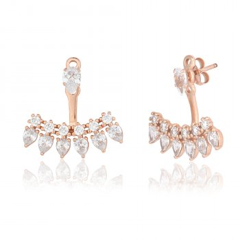 Rose gold ear jacket with pear shaped stones