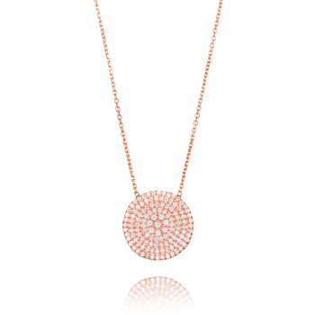Ingenious Rose gold necklace with large pave circle