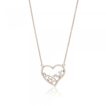 Rose gold necklace with open heart and scattered stones